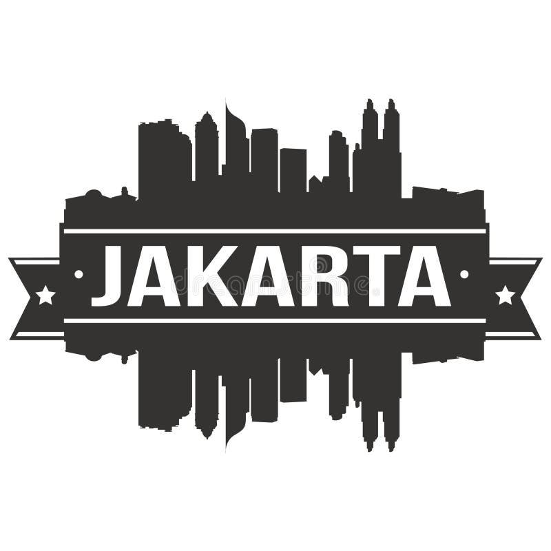 Modello editabile della siluetta di Art Design Skyline Flat City di vettore dell'icona di Jakarta Indonesia Asia illustrazione vettoriale
