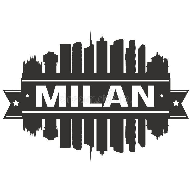 Modello editabile della siluetta di Art Design Skyline Flat City di vettore dell'icona di Milan Italy Italia Euro Europe illustrazione vettoriale