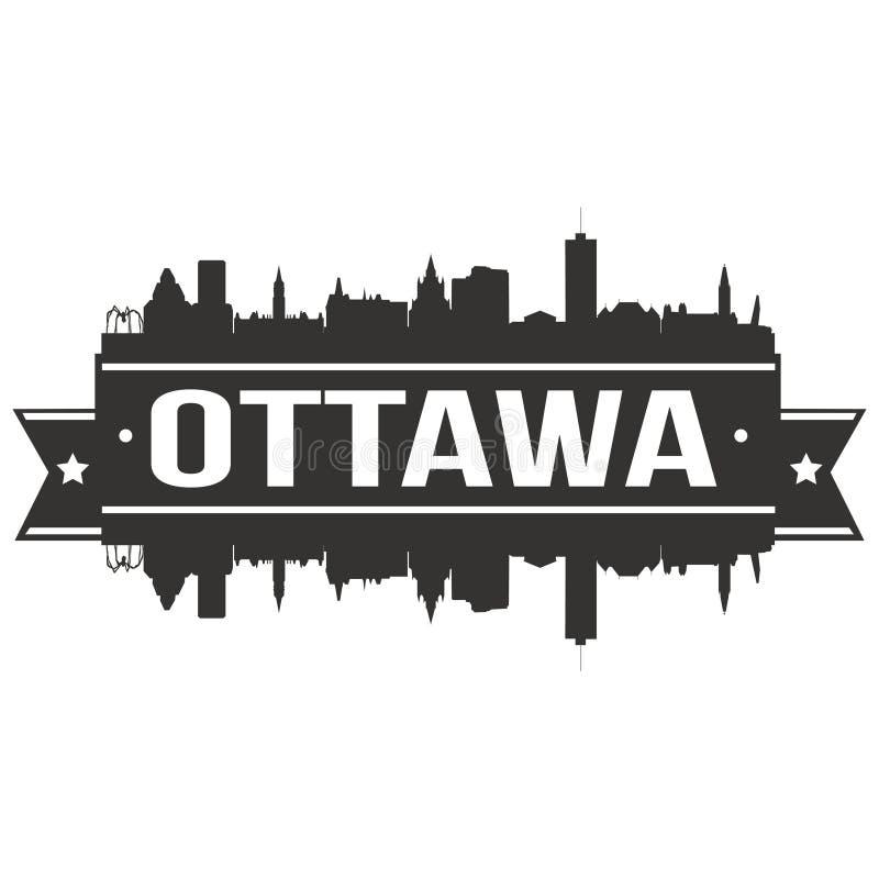 Modello editabile della siluetta di Art Design Skyline Flat City di vettore dell'icona di Ottawa Canada Nord America illustrazione vettoriale