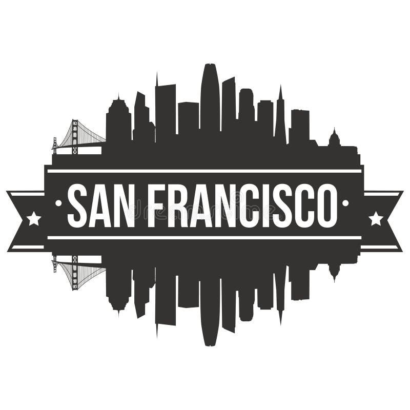 Modello editabile della siluetta di Art Design Skyline Flat City di vettore dell'icona di San Francisco California United States  illustrazione vettoriale