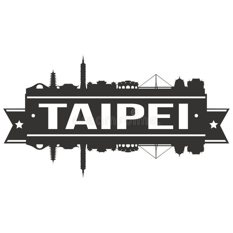 Modello editabile della siluetta di Art Design Skyline Flat City di vettore dell'icona di Taipei Cina Asia illustrazione vettoriale