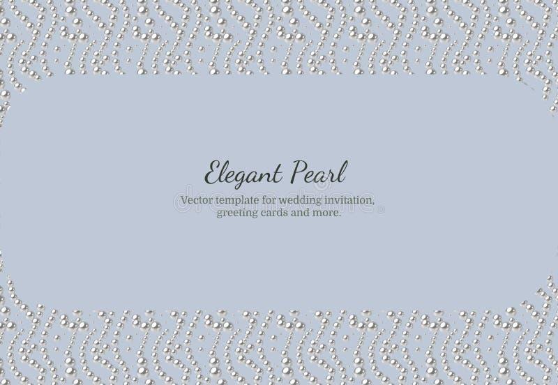 Modello elegante con il modello della perla Progettazione di vettore per le insegne, carte, invito di nozze illustrazione vettoriale