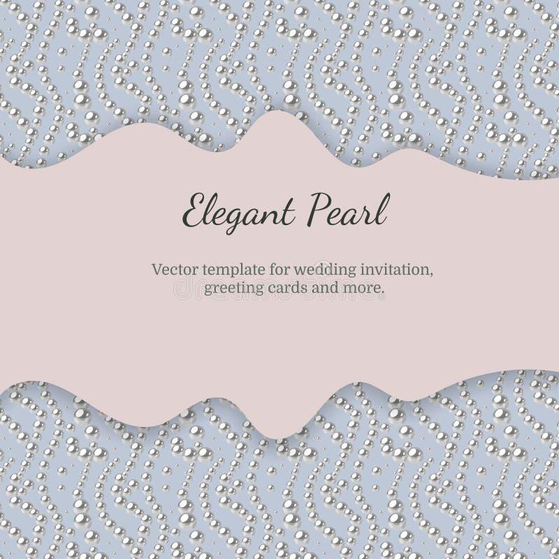 Modello elegante con il modello della perla Progettazione di vettore per le insegne, carte, invito di nozze illustrazione di stock