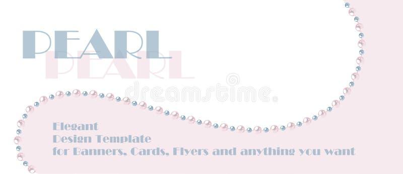 Modello elegante con la corda della perla Progettazione per le insegne, carte, invito di nozze illustrazione di stock