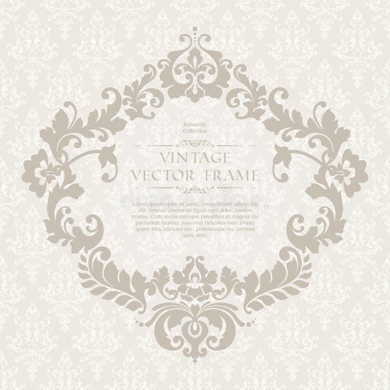 Modello elegante d'annata con il modello ornamentale e la struttura decorativa per l'invito di nozze, cartolina d'auguri con gli  illustrazione vettoriale