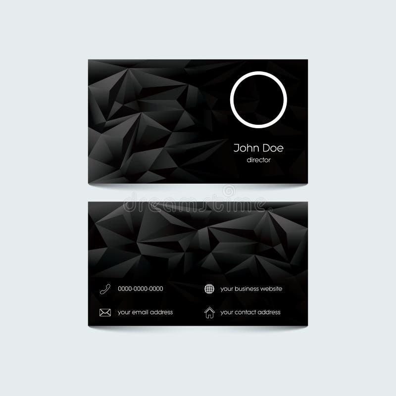Modello elegante del biglietto da visita Il poli nero basso illustrazione vettoriale