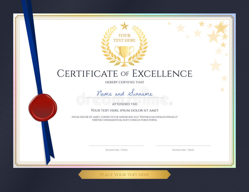 Modello elegante del certificato per eccellenza, risultato, apprec illustrazione di stock