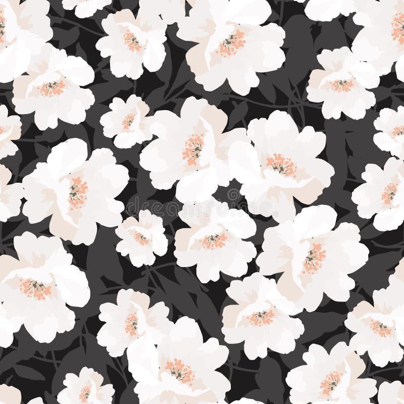 Modello elegante senza cuciture con le rose dei fiori illustrazione di stock