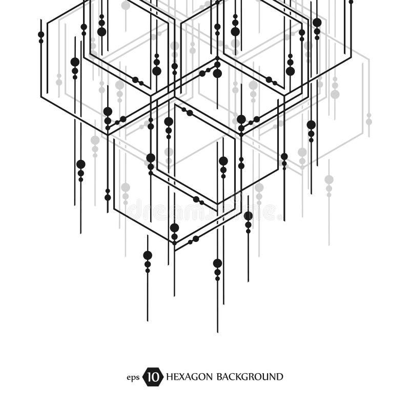 Modello esagonale di affari Ricerca medica scientifica Grata della struttura di esagoni Priorità bassa astratta geometrica royalty illustrazione gratis