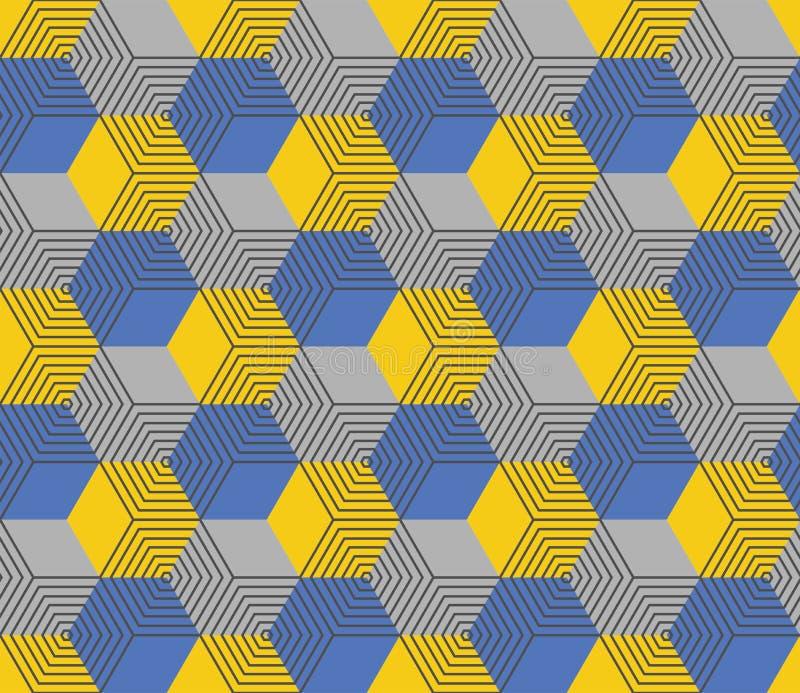 Modello esagonale geometrico senza cuciture nel colore giallo e blu royalty illustrazione gratis