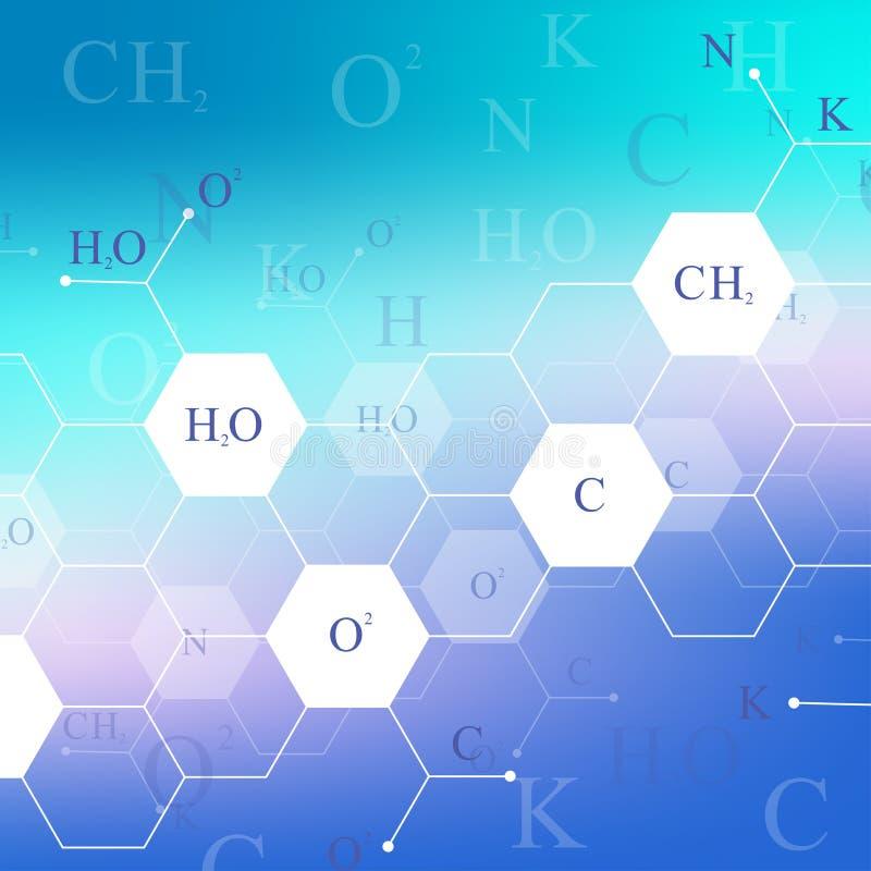 Modello esagonale scientifico di chimica Ricerca del DNA della molecola della struttura come concetto Fondo di scienza e tecnolog illustrazione di stock