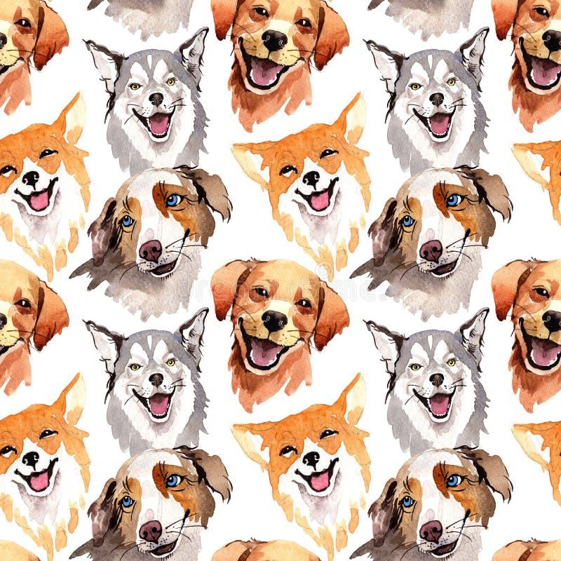 Modello esotico dell'animale selvatico del cane in uno stile dell'acquerello illustrazione di stock