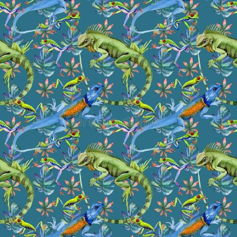 Modello esotico dell'iguana in uno stile dell'acquerello royalty illustrazione gratis