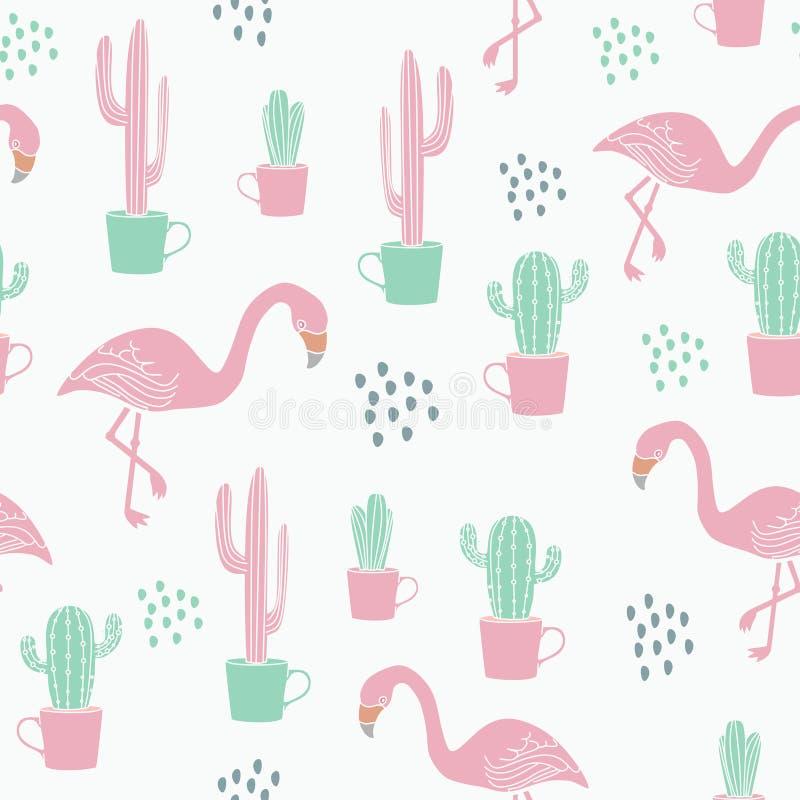 Modello esotico di estate con il fondo senza cuciture disegnato a mano del cactus e del fenicottero multicolore per il vettore de royalty illustrazione gratis