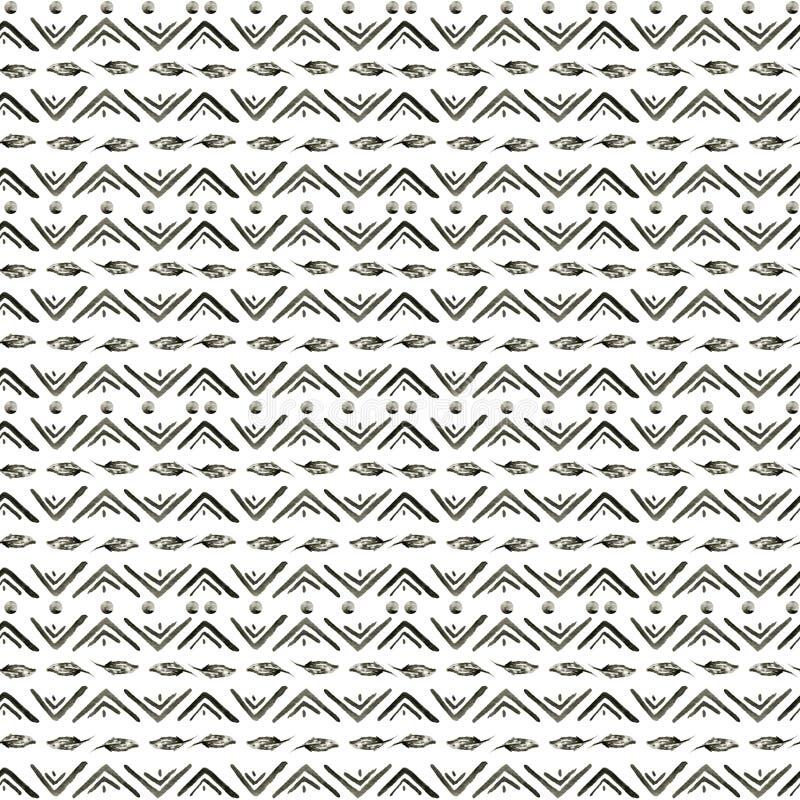 Modello etnico dell'acquerello Fondo geometrico azteco di modo Modello monocromatico disegnato a mano Carta da parati astratta mo illustrazione vettoriale