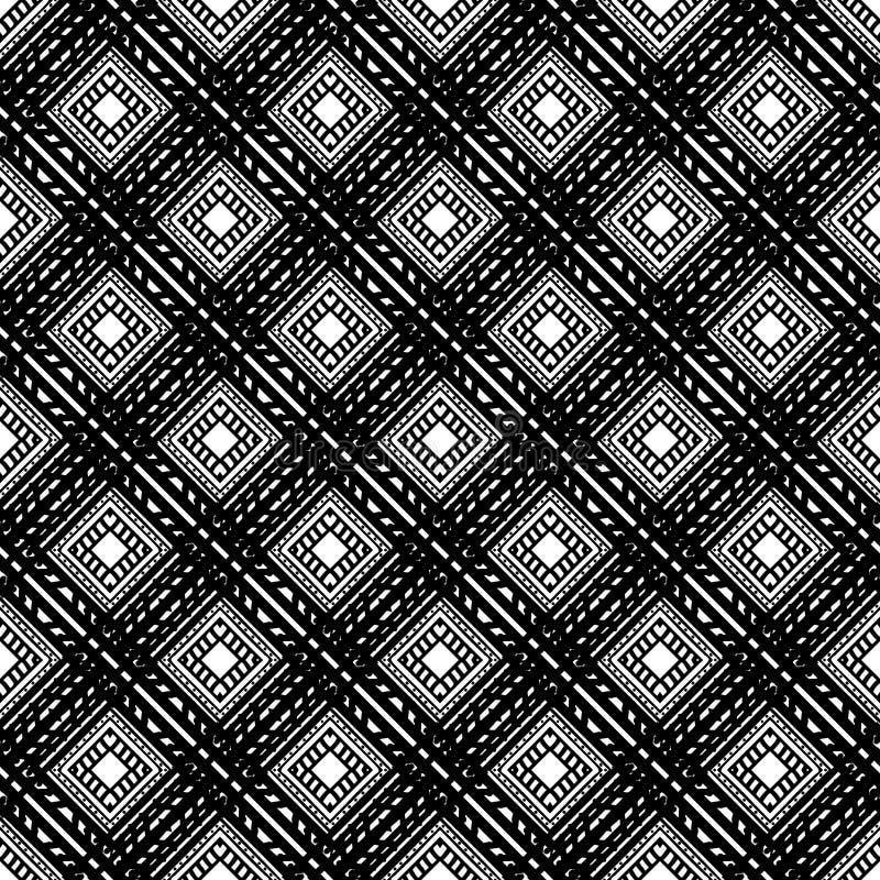 Modello etnico senza cuciture in bianco e nero Annata, lerciume, fondo tribale astratto royalty illustrazione gratis