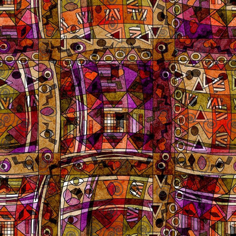 Modello etnico senza cuciture con il fondo decorativo degli elementi illustrazione vettoriale