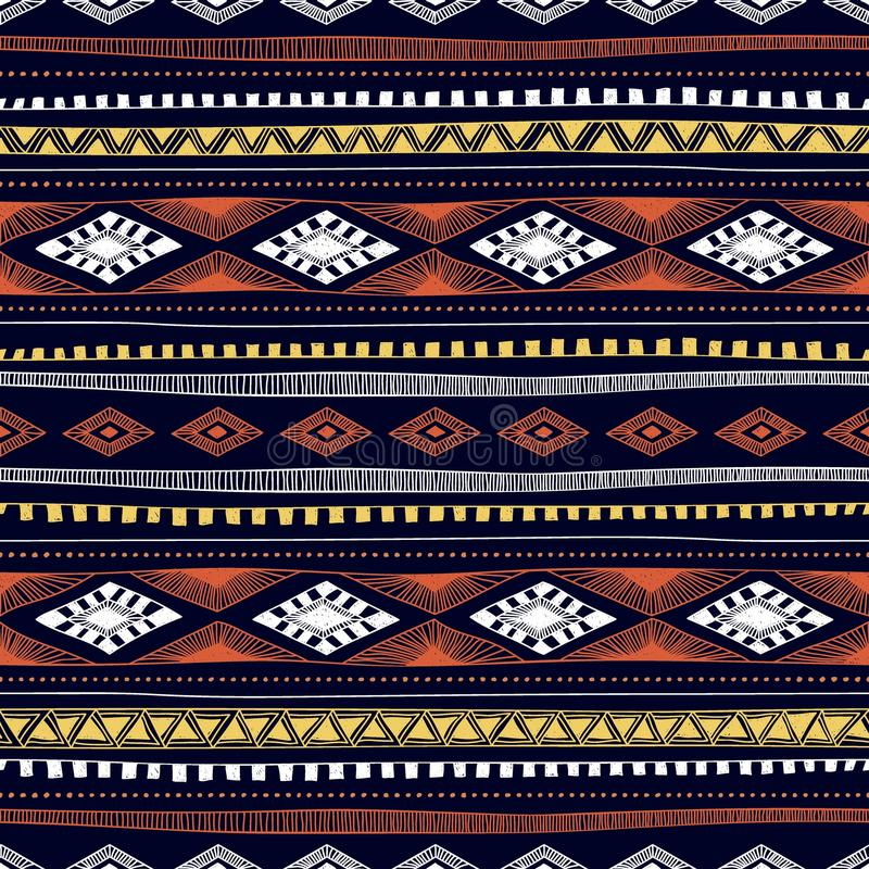 Modello etnico senza cuciture disegnato a mano EL geometrico multicolore illustrazione di stock
