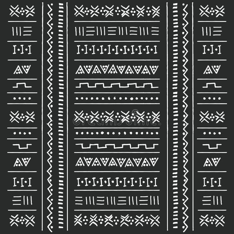 Modello etnico tribale in bianco e nero con gli elementi geometrici, panno africano tradizionale del fango, progettazione tribale royalty illustrazione gratis