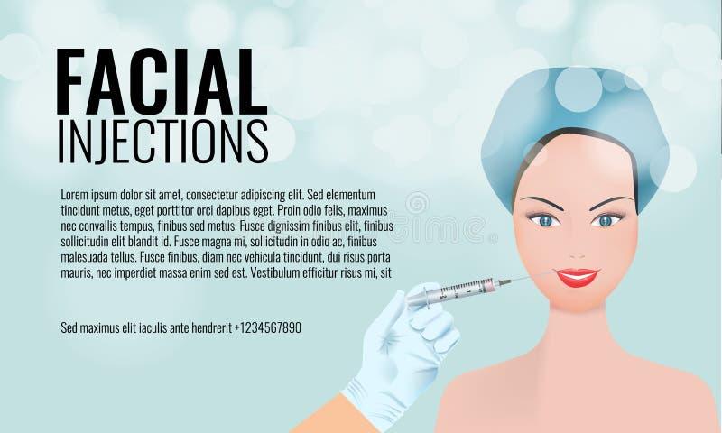 Modello facciale cosmetico della disposizione dell'annuncio delle iniezioni siringa della tenuta del viso e della mano della donn illustrazione vettoriale