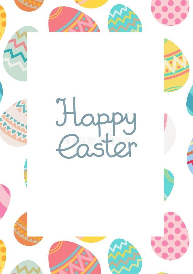Modello felice decorativo della struttura dell'uovo di Pasqua di vettore royalty illustrazione gratis