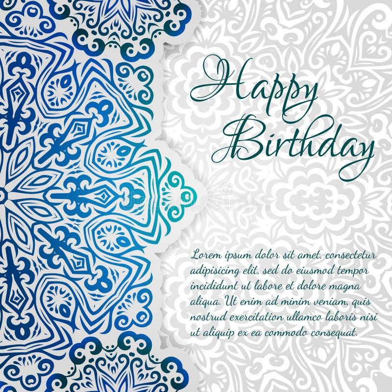 Modello felice del biglietto di auguri per il compleanno di vettore etnico di pizzo Invito d'annata romantico Ornamento floreale  fotografia stock
