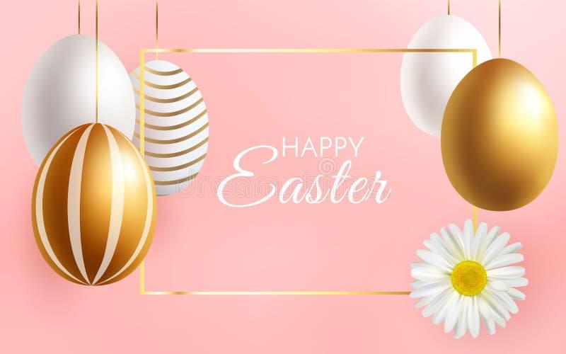Modello felice del fondo di Pasqua con fondo di corallo rosa molle, struttura dorata brillante, iscrizione piacevole illustrazione vettoriale