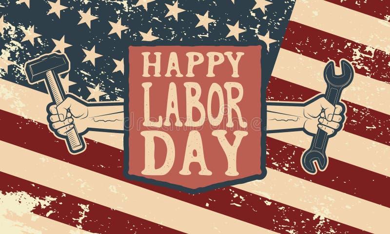 Modello felice del manifesto di festa del lavoro Bandiera di U.S.A. sul fondo di lerciume illustrazione vettoriale