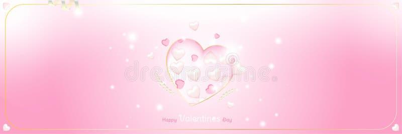 Modello felice della cartolina d'auguri di giorno di biglietti di S. Valentino Concetto di celebrazione con i cuori e gli effetti illustrazione vettoriale
