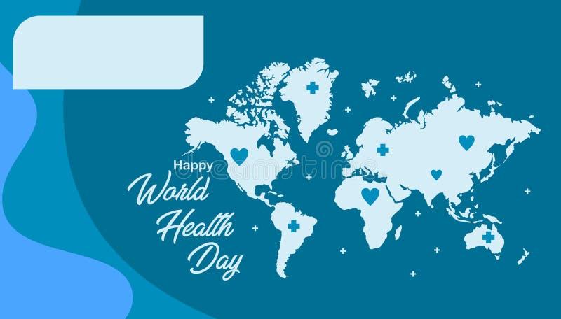 Modello felice della cartolina d'auguri di giorno di salute di mondo con colore blu royalty illustrazione gratis