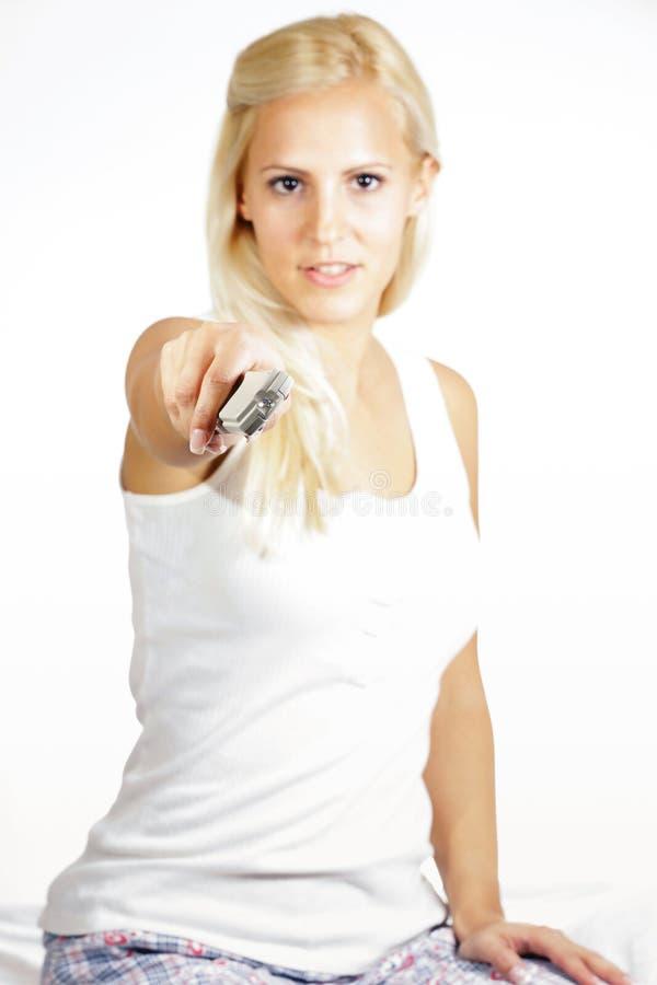 Modello femminile dei capelli leggeri, televison di sorveglianza immagini stock