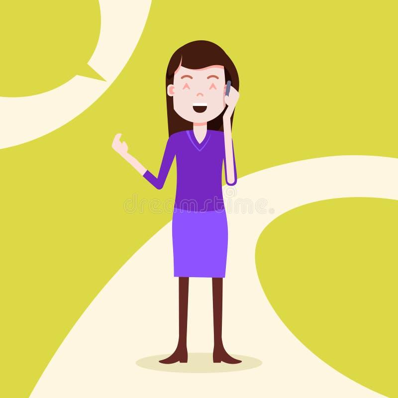 Modello femminile della ragazza di telefonata felice teenager del carattere per la progettazione e l'animazione sul piano integra illustrazione vettoriale
