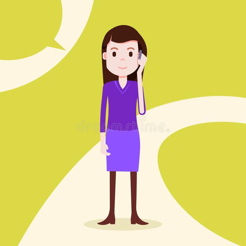 Modello femminile della ragazza di telefonata seria teenager del carattere per la progettazione e l'animazione su fondo giallo in illustrazione vettoriale