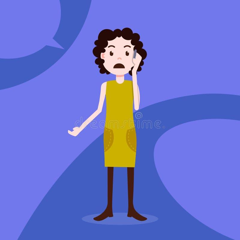 Modello femminile della ragazza di telefonata triste teenager del carattere per la progettazione e l'animazione sul piano integra royalty illustrazione gratis