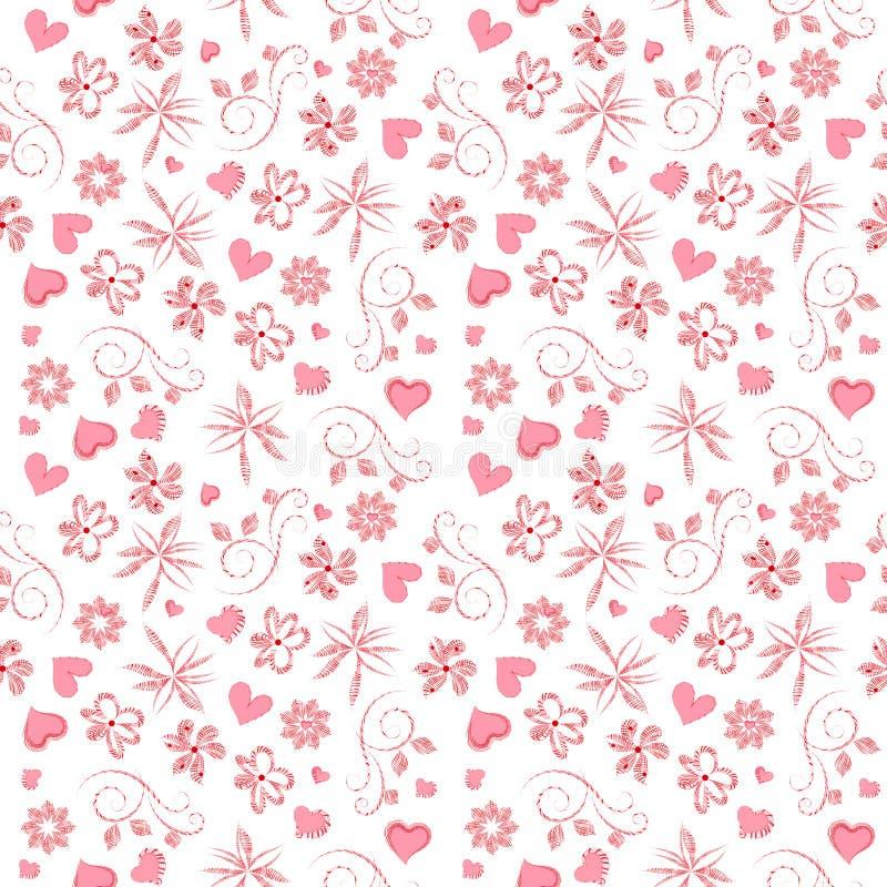 Modello festivo del quadro televisivo con i fiori ed i cuori rosa per lo spostamento di regalo di San Valentino, nozze illustrazione di stock