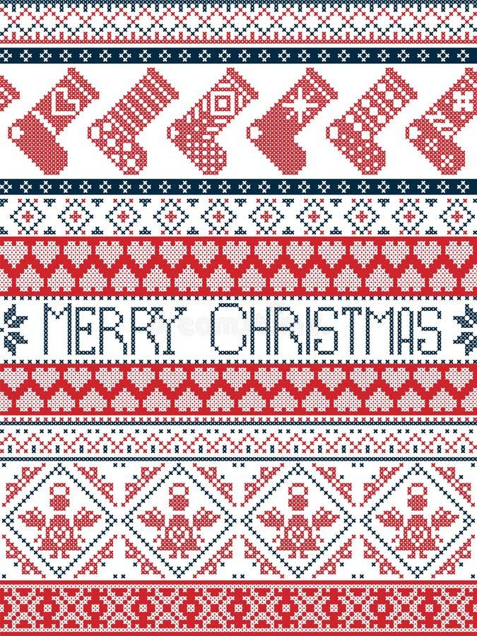 Modello festivo di inverno di Buon Natale nordico di stile in punto trasversale con le calze, cuore, angelo, ornamenti decorativi illustrazione vettoriale