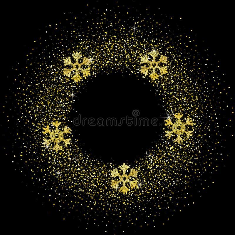 Modello festivo di Natale di vettore con lo spazio della copia, scintillio di lustro sul nero illustrazione vettoriale