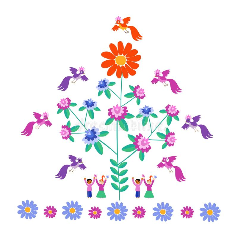 Modello festivo per ricamo Fiore - Sun, albero di fioritura, uccelli e gente sveglia del fumetto illustrazione di stock
