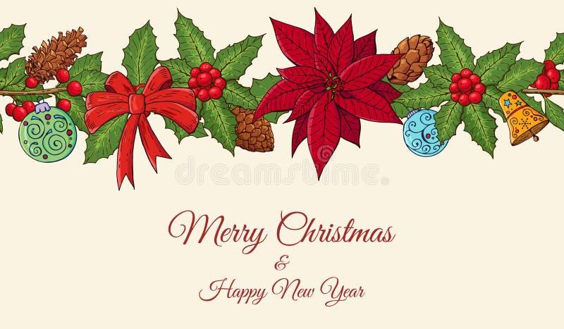 Modello festivo senza cuciture del confine con la stella di Natale, la pianta dell'agrifoglio e gli elementi homeplant tradiziona illustrazione di stock