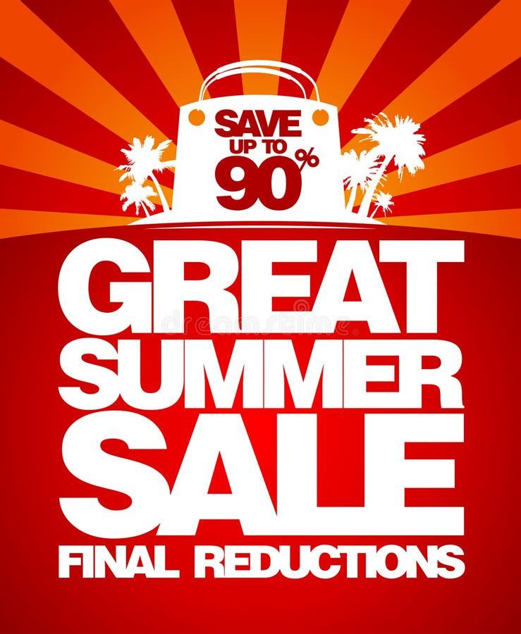 Modello finale di disegno di vendita di estate. illustrazione di stock