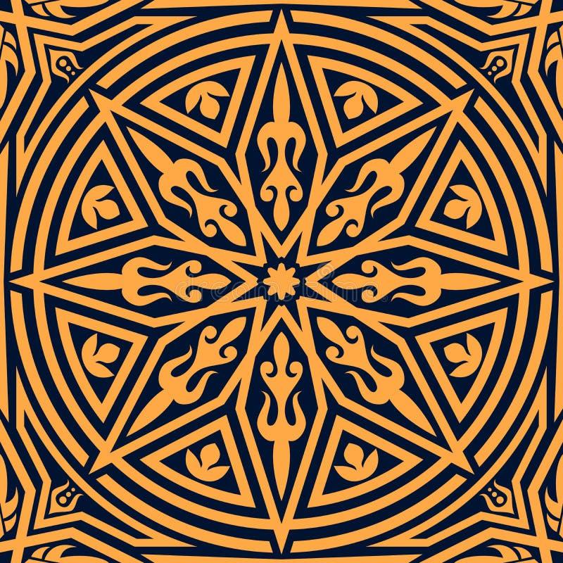 Modello floreale arabo dell'ornamento geometrico arancio royalty illustrazione gratis