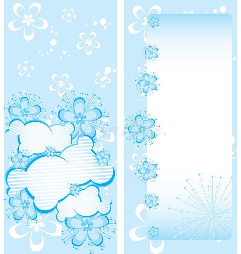 Modello floreale blu dell'opuscolo illustrazione di stock