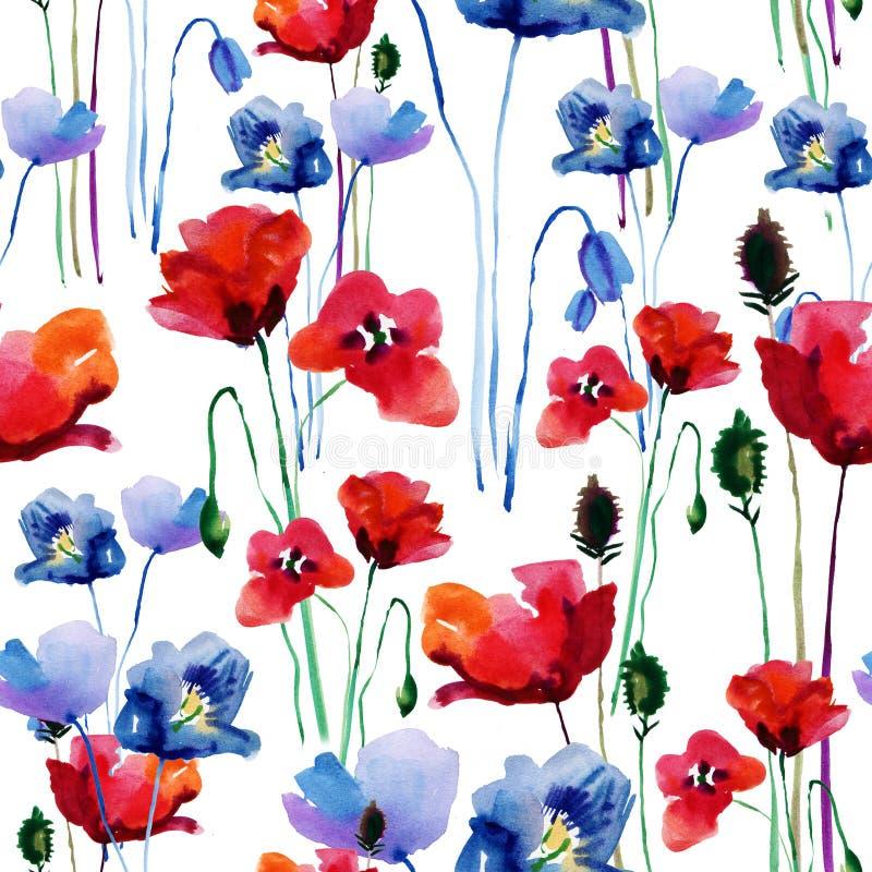 Modello floreale con i papaveri watercolor illustrazione vettoriale