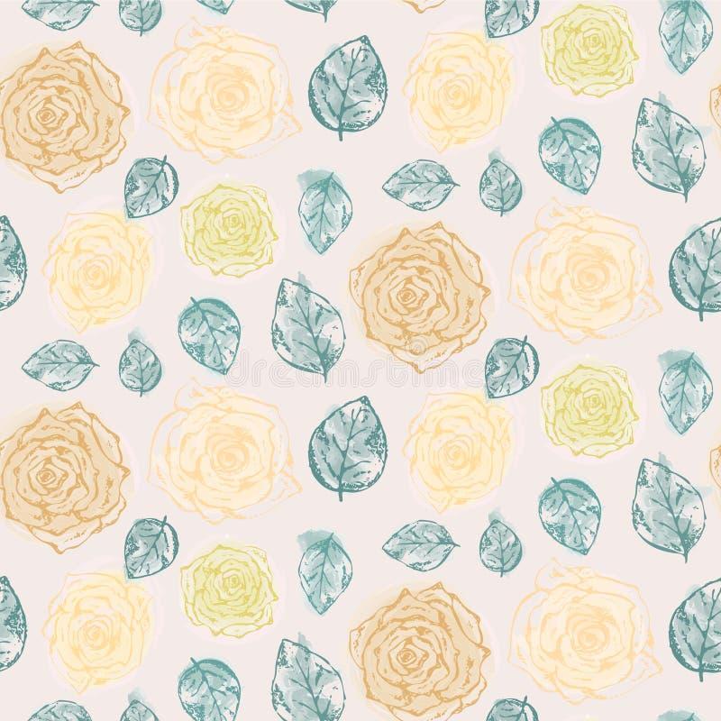 Modello floreale con le rose gialle e le foglie tenere illustrazione vettoriale