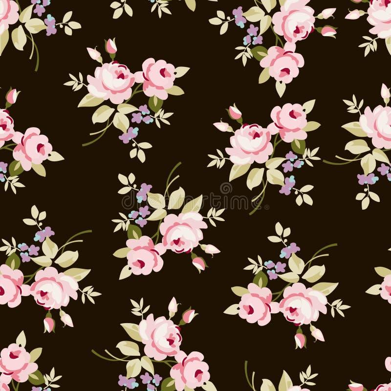 Modello floreale con le rose rosa illustrazione di stock