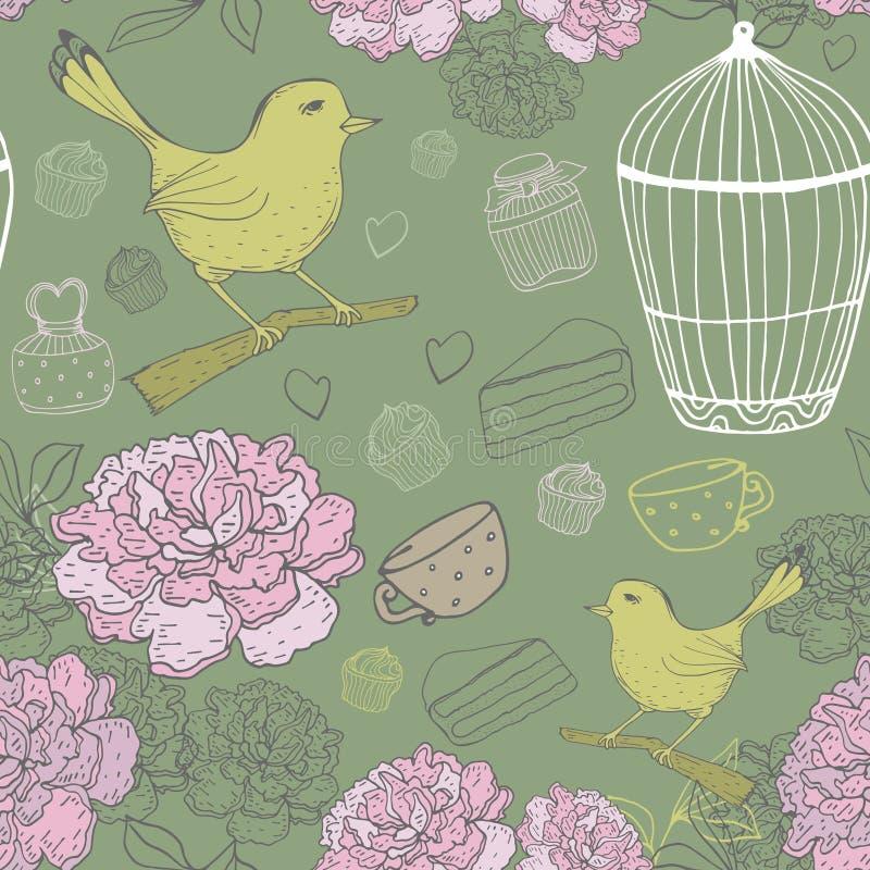 Modello floreale d'annata con l'uccello, gabbia, peoni Tiraggio della mano di vettore royalty illustrazione gratis