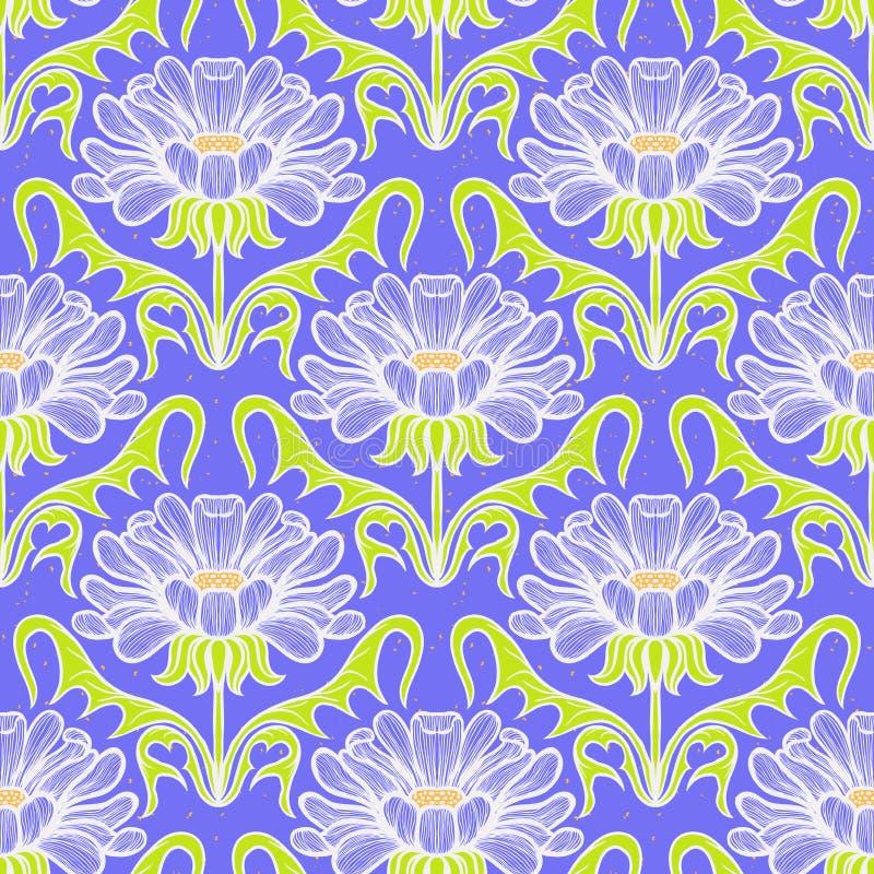 Modello floreale d'annata del damasco illustrazione di stock