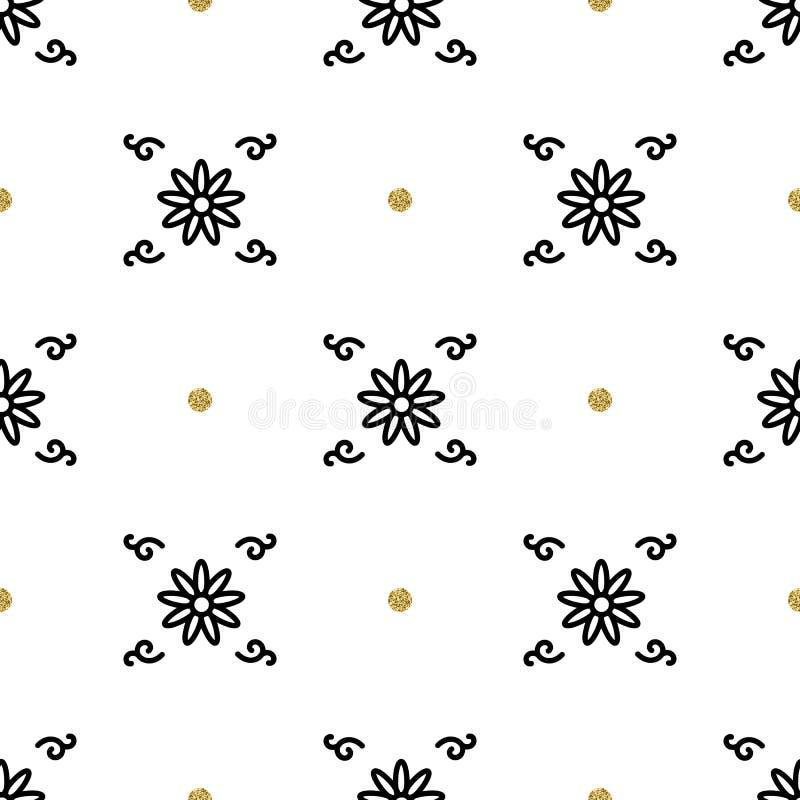 Modello floreale d'avanguardia, carta da parati senza cuciture di motivi asiatici, ornamento etnico di interpretazione royalty illustrazione gratis