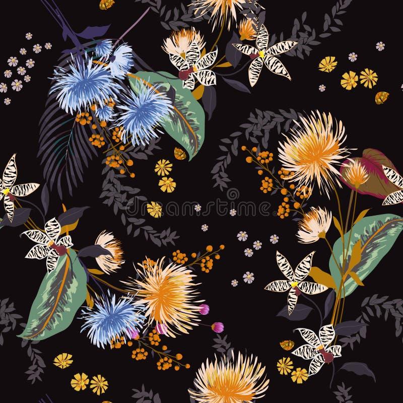 Modello floreale d'avanguardia scuro nei molti genere di fiori Tropica royalty illustrazione gratis
