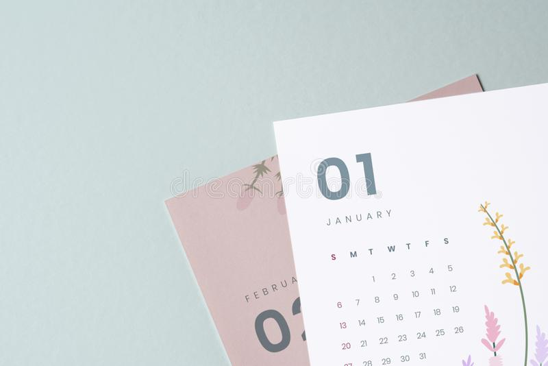 Modello floreale del modello del calendario con lo spazio di progettazione immagine stock libera da diritti